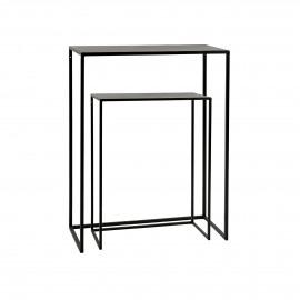 ESZENTIAL - set/2 consoles - metal - L 50/60 x W 30/30 x H 60/80 cm - black