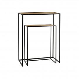 ESZENTIAL - set/2 consoles - wood - metal - L 50/60 x W 30/30 x H 60/80 cm - natural/black