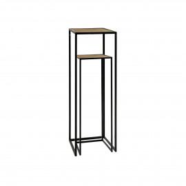 ESZENTIAL - set/2 consoles - wood - metal - L 26/30 x W 26/30 x H 60/80 cm - natural/black