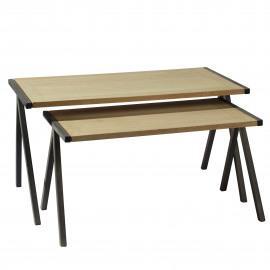 TRIBU-  set 2 nesting tables - oak/steel - smoky grey - 88/74x46/39x46/39cm