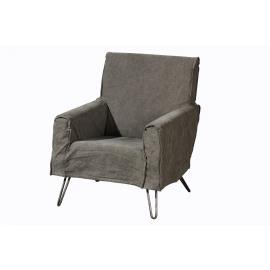 CHARLO - armchair - canvas/metal - charcoal - 74,5x81x85 cm