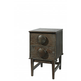 EGERIE - commode  2 deuren - eik - zwart denim - 47x55x77cm