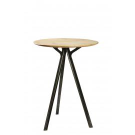 COMPAS - Bartafel, mango hout, antiek grijs metaal, dia70xh103cm
