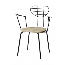MICKEY - Armchair - white pine+steel - white/natural - 59x44x77 cm