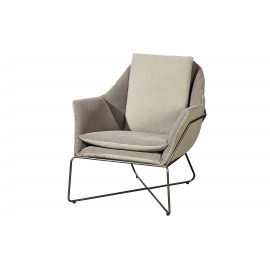 ANSELM - armchair - skay/cotton/metal - bicolor - 77x87x76 cm