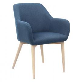 EERO - stoel - polyester jeansblauw - naturel houten poten - 57,5x59x82 cm