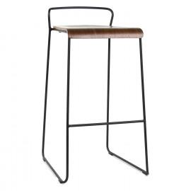 SORTO - stoel bar - metaal - multi-laags walnut - 48x51x85 cm