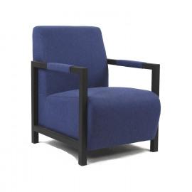 AVONE - Zetel - zwart metaal - blauwe stof - 66x85x85cm