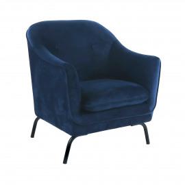 LUSSO - fauteuil - velvet - L 80 x W 76 x H 86 cm - bleu