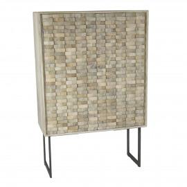 NORD - 2-deurs kast - mangohout/metaal - naturel - 90x40xh140 cm