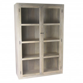 TIGA - vitrinekast - mangohout/glas - 118x42xh180 cm