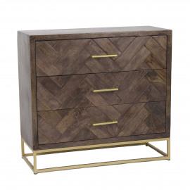ANTOINE - armoire 3 tiroirs - 85x35xh80 cm - bois de mangue - brun foncé