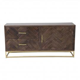 ANTOINE - armoire - 140x35xh65 cm - bois de mangue - brun foncé
