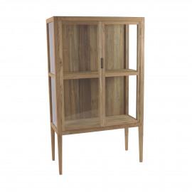 TOULOUSE - cabinet - teak / glass - L 90 x W 40 x H 150 cm - natural