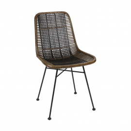 CAPPUCCINO - chair - rattan / metal - L 43 x W 52 x H 82 cm - dark brown