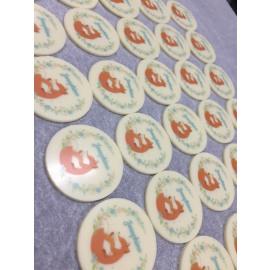 chocolaatjes met foto/logo/tekst - rond 3,5cm - 35 stuks