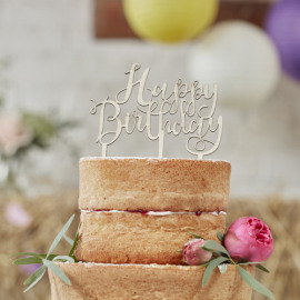 Happy Brithday - hout  - Cake topper