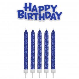 Blue happy Birthday candles
