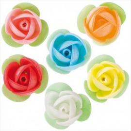 rozen met blaadje - wit - ouwel decoratie
