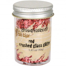 Crushed Glass Glitter 1.41oz Red