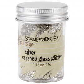 Crushed Glass Glitter 1.41oz Silver