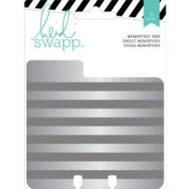 Heidi Swapp Memorydex Embossed Tin Tabbed Card Dividers X3