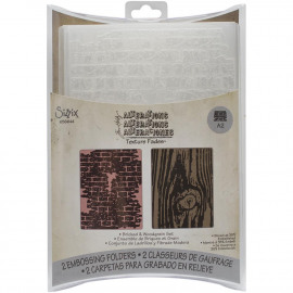 Texture Fades A2 Embossing Folders 2/Pkg Bricked & Woodgrain