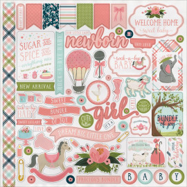 Rock-A-Bye Baby Girl Cardstock Stickers 12