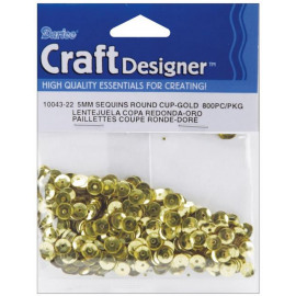 Sequins round cup gold 5 mm