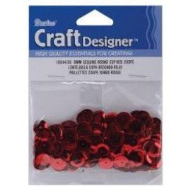 Sequins round cup red 8mm