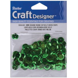 Sequins round cup kelly green 8mm