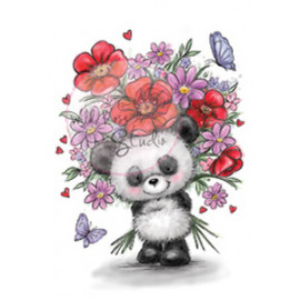 PANDA WITH FLOWERS A7 stamp set