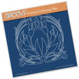 Groovi Plate Lillies Art Nouveau A5 Sq
