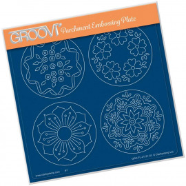 JOSIE'S PTC COINS FLOWERS & LEAVES  A5 SQUARE GROOVI PLATE