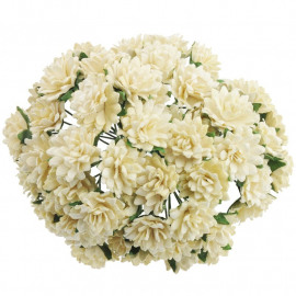 25 DEEP IVORY MULBERRY PAPER ASTER DAISY STEM FLOWERS