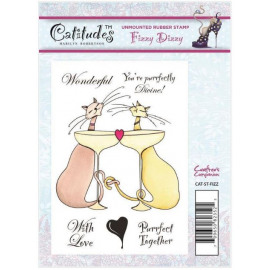 Catitudes A6 Unmounted Rubber Stamp - Fizzy Dizzy