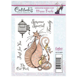 Catitudes A6 Unmounted Rubber Stamp - Happy Family