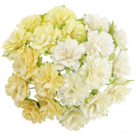 20 MIXED WHITE/CREAM MULBERRY PAPER CARNATION FLOWERS