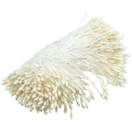 350 SMALL IVORY DOUBLE HEAD PEARL STAMENS - 5mm (0.2