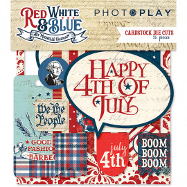 RED WHITE AND BLUE  CARDSTOCK DIE CUTS  - 26 ST