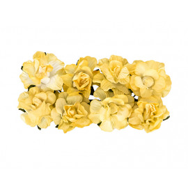 Paper flowers curly rose light yellow
