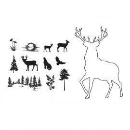 Stag outline stamp set