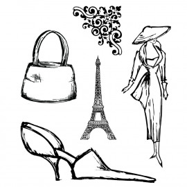 Sketchy Paris Fashion mask unmounted clear stamp set