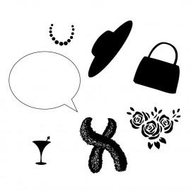 Wee Fashion - Handbag + mask unmounted clear stamp set