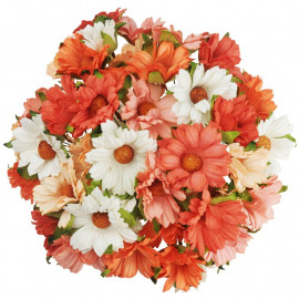 MIXED PEACH/ORANGE/WHITE MULBERRY PAPER CHRYSANTHEMUMS