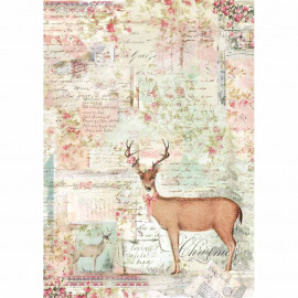 Stamperia Rice Paper A4 Pink Christmas Reindeer