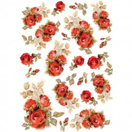 Rice Paper A4 Red Roses