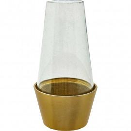 Brass bloempot met glazen stolp M