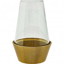 Brass bloempot met glazen stolp L