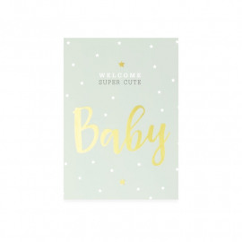 Postkaart Welcome super cute baby - mint